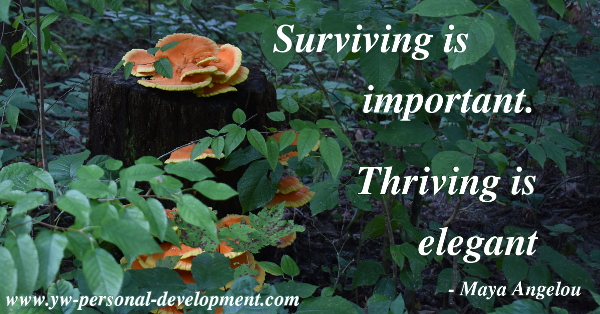 Life is more than mere survival. Maya Angelou said survival is important. Thriving is elegant. Be elegant.